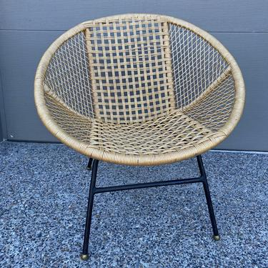 Mid Century Basket Chair Woven PVC Coated Rope Patio Chair by DesertCactusVintage