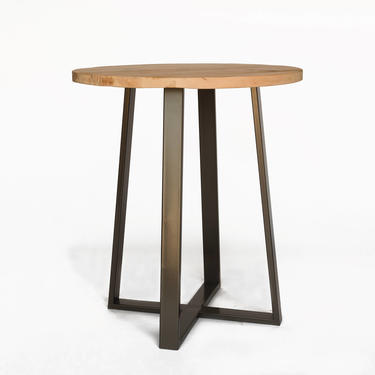 Round Bistro Table, High Top Pub Table made of reclaimed wood and steel pedestal base.  Choose size, height and finish. by UrbanWoodGoods