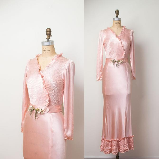 0aa53d98954 1930s Satin Bias Cut Gown   Old Hollywood 30s Pale pink dress by  FemaleHysteria