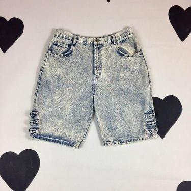 80's acid side bows stone washed light denim jean shorts 1980's thrasher rocker bleached out girly punk long denim shorts 34 high waist XXL by verybestvintage