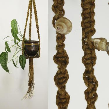 Macrame Seashell Plant Hanger / OOAK Extra Long Driftwood Hanging Planter Seashell Boho Gypsy Woven Braided Jute Twine Natural Wood by Hawksbride