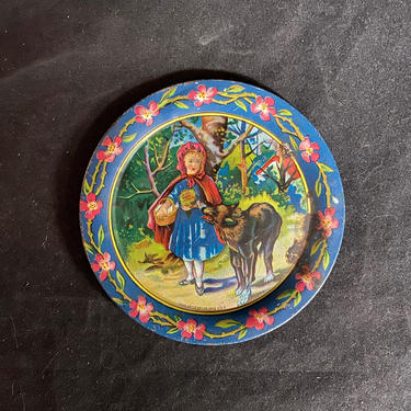 Tin Toy Tea Set Tray Round Little Red Riding Hood Ohio Arts Vintage Collectible by accokeekpickers