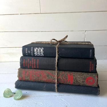 Vintage Black Book Bundle, Set of 4 // Worn and Faded Black Books // Vintage Books for Home Styling // Black Decorative Book Sets by CuriouslyCuratedShop
