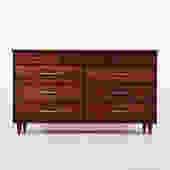 Solid walnut vintage 9 drawer dresser