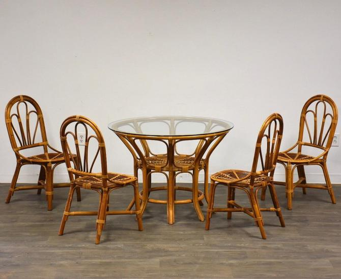 Vintage Bamboo Dining Room Table & Chairs by mixedmodern1