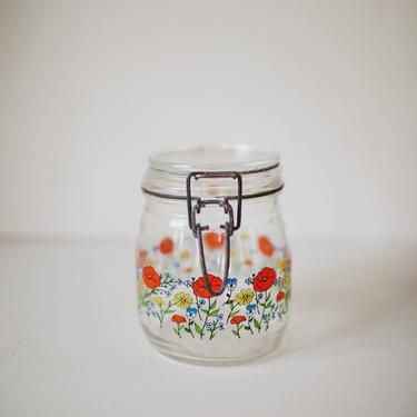 Poppy Glass Canister, Vintage Jar with Cover, Glass and Metal, Floral Glass Canister, Made in France, Gift for Baker by cedargrey