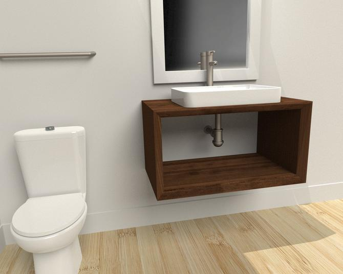 Floating Bathroom Vanity all Wood / Industrial restroom / Modern Vanity / Rustic Furniture / contemporary by TheRusticForest