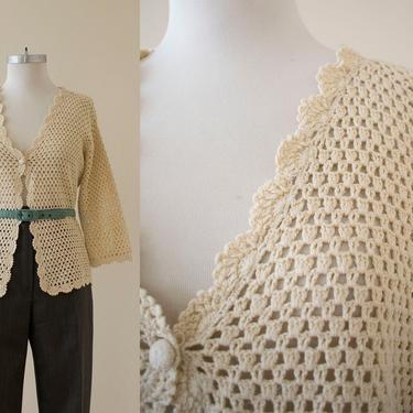 Vintage 1970s Crochet Top / Vintage Cream Crochet Top / Vintage Crochet Cardigan / Vintage 1970s Cardigan Sweater / Plus Size Vintage by milkandice