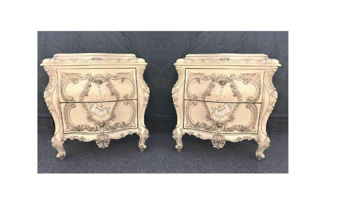 Large RARE Romantic Antique Cream French Rococo Ornate Fancy Bedroom Pair of Nightstands / End tables (PureVintageNYC) by PureVintageNYC