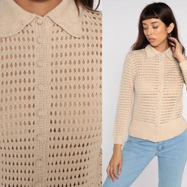 Beige Cardigan Sweater 70s Boho Open Weave Sheer Sweater Pointelle Bohemian Sweater Vintage Acrylic Knit 1970s Slouchy Grandma Small S by ShopExile