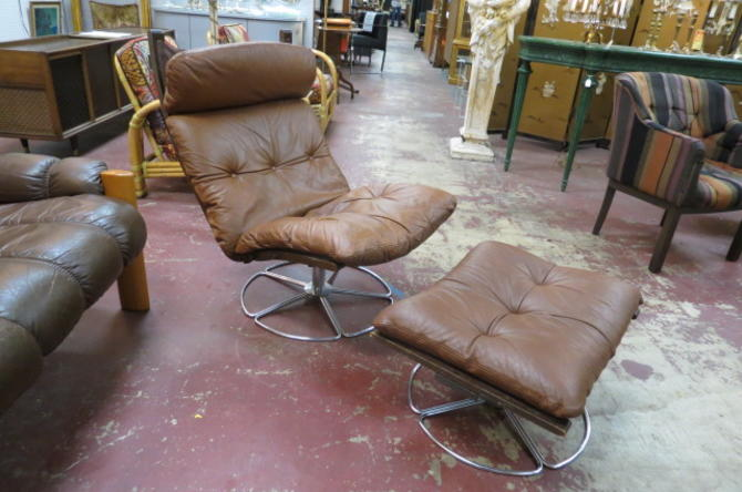 Danish modern leather lounge chair and ottoman