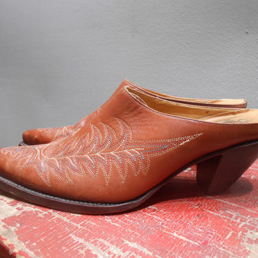 Vintage Charlie 1 Horse Lucchese Brand Leather Mules Western Style Clogs Cowgirl Chic Pointy Toe Top Stitched Leather Heels Western Shoe by kissmyattvintage