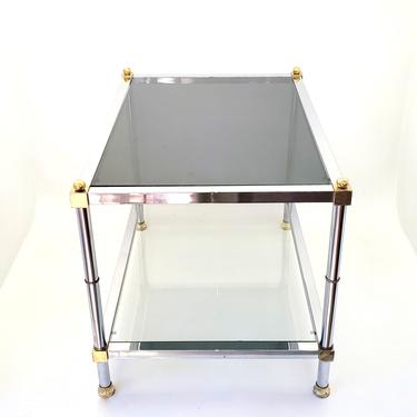1970's Maison Jansen Mid Century Modern Chrome & Brass Rectangle Side End Coffee Table Low Profile Smoked Glass Hollywood Regency! French by MakingMidCenturyMod