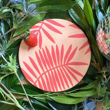 Ceramic Cheeseboard/Cheese Tray or Cake Plate in Botanical Palm Print - Dark Pink and Blush Handmade Dinnerware by BirdstoneCeramics