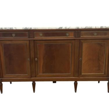 Louis XVI Style Marble Top Sideboard Buffet Credenza - 20th C