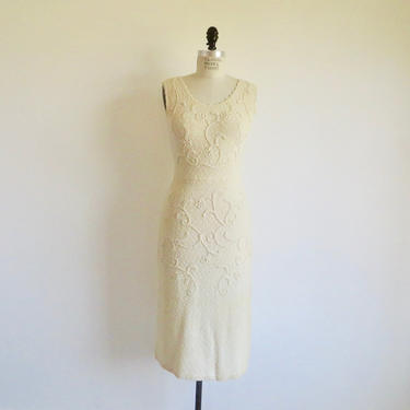 Vintage 1950's Ivory Creme Wool Sweater Knit Dress Sleeveless Style Rhinestone Trim Pin Up Rockabilly Wedding  Bridal Snyder Knit Size Small by seekcollect