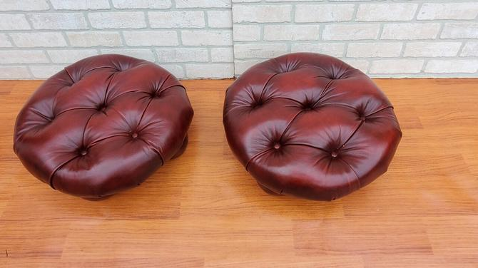 Vintage Chesterfield Low Leather Tufted Ottoman - Pair