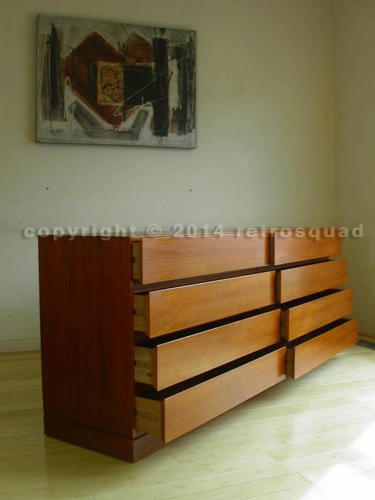 Danis Modern Teak 8 Drawer Dresser By Arne Wahl Iversen For Vinde / Bedroom Mid Century, MCM Credenza by RetroSquad