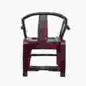 Red Lacquer Oriental Horse Shoe Curve Shape Accent Fusion Chair cs5359S
