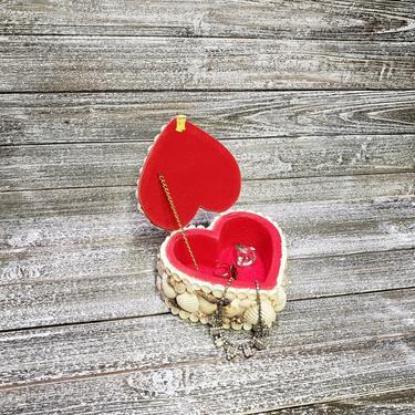 Vintage Seashell Keepsake Box, Heart Shaped Shell Trinket Box, Vintage Valentine Jewelry Box, Shell Momento Case, Vintage Home Decor by AGoGoVintage