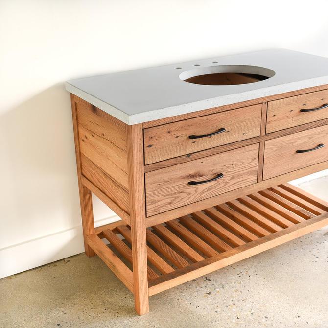 Farmhouse Vanity / Reclaimed Wood 4-Drawer Bathroom Vanity / Slat Lower Shelf by wwmake