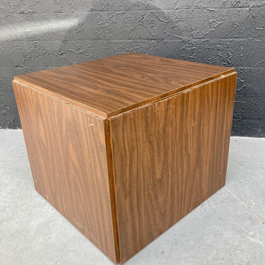 Laminate Wood Cube Side Table
