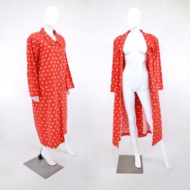 1980s Red & White Polka Dot Duster Trench Coat - 1980s Camp Coat - Vintage Duster Coat - Vintage Polka Dot Coat - Vintage Coat | Size Large by VeraciousVintageCo