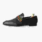 GUCCI DARK BROWN LEATHER LOAFERS WITH DOUBLE G & WEB