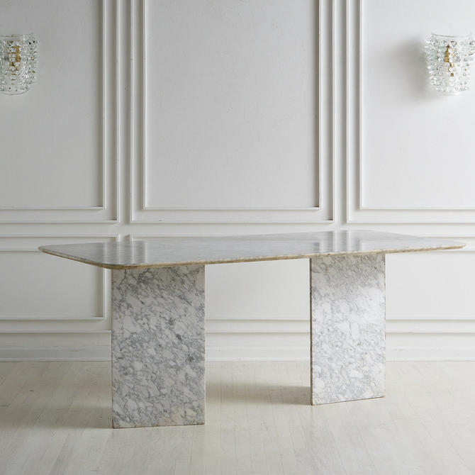 Gray and White Marble Dining Table with Triangle Bases