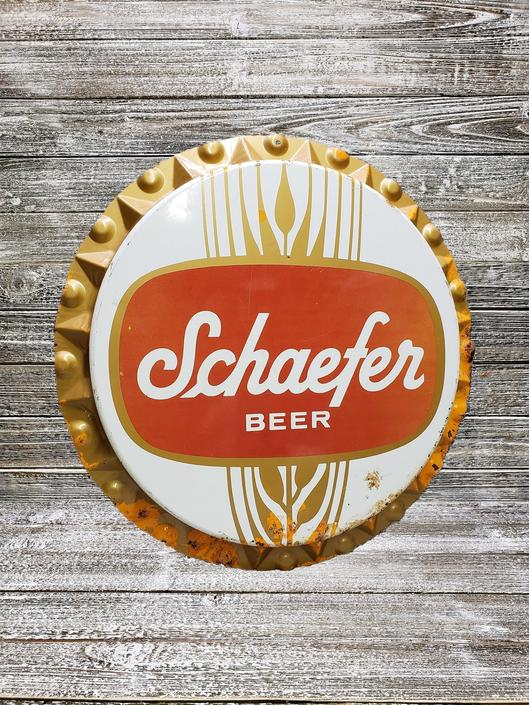 Vintage Schaefer Sign, Vintage Beer Sign, Schaefer Beer, GIANT Beer Bottle Cap Sign, Bar Decor, Vintage Breweriana, Vintage Beer Advertising by AGoGoVintage