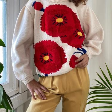 90s Hand Knit Poppies Sweater