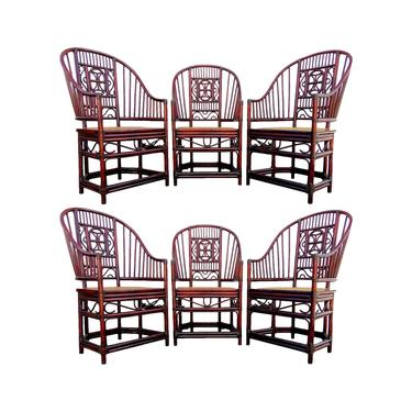 Brighton Pavilion Style Rattan Dining Chairs, Set of 6 by VeronaVintageHome