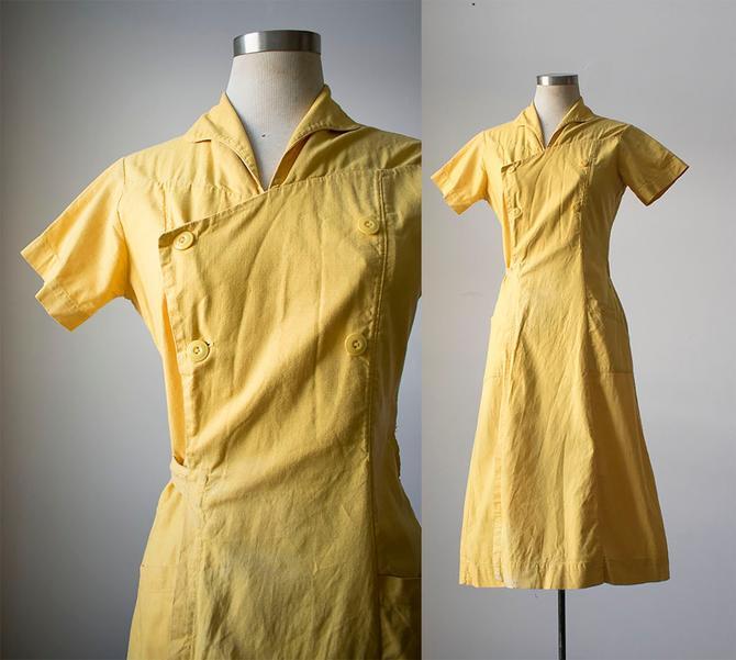 Vintage Yellow Linen Dress / 1940s Shirt Dress / 1940s Wrap Dress / WWII Era Dress / Pale Yellow Linen Dress / Workwear Dress / True Vintage by milkandice