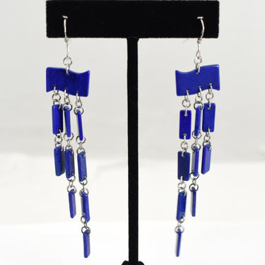 70's sterling lapis lazuli shoulder duster hippie couture earrings, striking blue stone slices 925 silver geometric chandelier earrings by BetseysBeauties