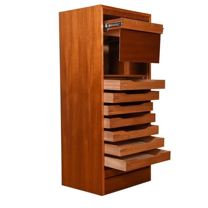 Danish Modern Teak Locking Tambour Door Filing Cabinet