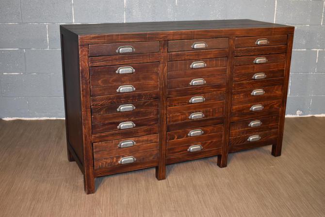 Rustic Style Solid Wood 12-Drawer Dresser, Sideboard in Dark Pine by RusticShop1