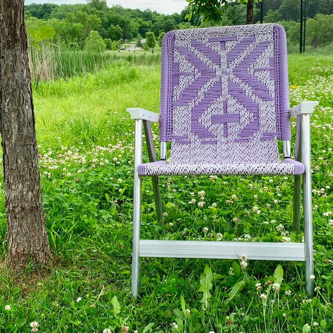 Macrame Chair | Folding Lawn Chair | Aluminum Folding Chair | Webbed Lawn Chair | Camp Chair | Outdoor Furniture by PiccadillyPrairie