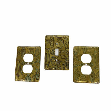 50's Mid Century Brass Fish Light Switch Cover and Outlet Covers Switchplates by Northforkvintageshop