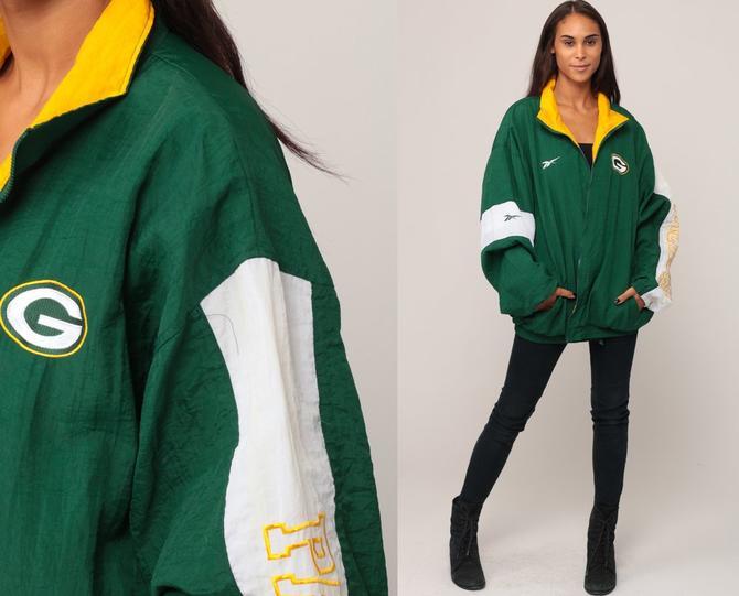 new product 10360 f409c GREEN BAY PACKERS Jacket Football Jacket Reebok Nfl Jacket 80s Windbreaker  Jacket Sports Green 90s Vintage Retro Extra Large xl 2xl xxl by ShopExile
