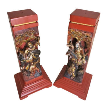 Vintage Chinese Red Lacquer Gilt Painted Hand Carved Wooden Figural Architectural Element Incense Burner Stand by LynxHollowAntiques