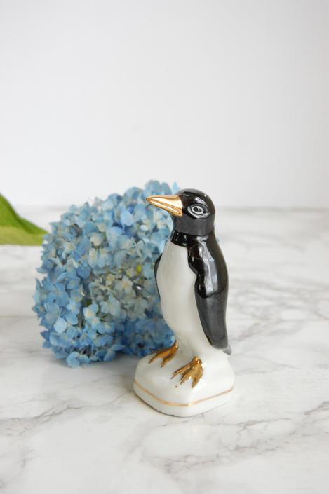 Porcelain Penguin Statue Figurine Vintage Porcelain Penguin by PursuingVintage1