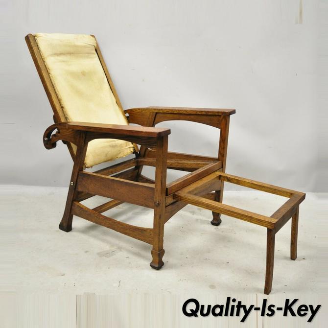 Mission Oak Arts Crafts Reclining Morris Chair Fold Flip Footrest attr Hunzinger