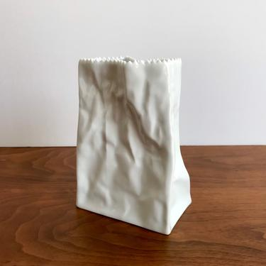"""Rosenthal Studio Line """"Do Not Litter"""" Paper Bag Porcelain Vase 5.75"""" by Tapio Wirkkala by TheThriftyScout"""
