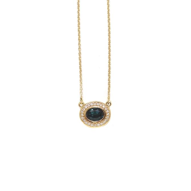 Teal Tourmaline Halo Necklace