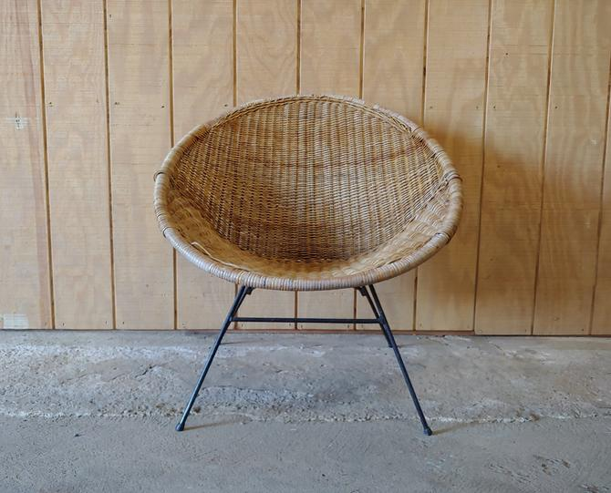 Vintage Arthur Umanoff Inspired Rattan and Wrought Iron Hoop Chair by ModandOzzie
