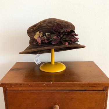 Brown Velveteen Bucket/Boater Hat with Flower Details - Late 1980s/Early 1990s by LogansClothing