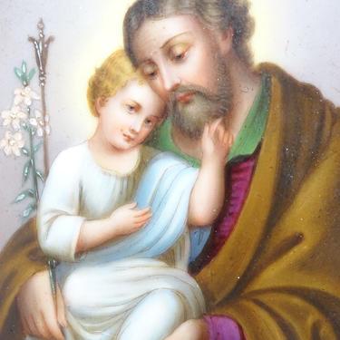 Antique 1800's Hand Painted Miniature Portrait on Porcelain Joseph and Christ Child Jesus, Brass Frame Easel Back, Vintage Religious Art by exploremag