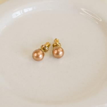 gold dainty brown pearl studs, gold pearl studs, gold color pearl earring, small pearl studs, brown pearl earring, gift for her, gold studs by melangeblancdesigns