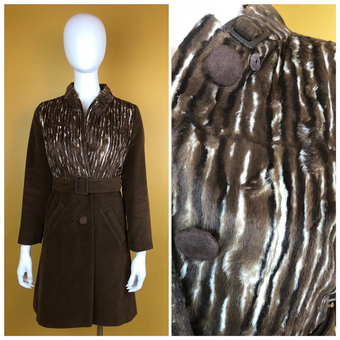 Vintage 1960s Juli De Roma Brown Pony Hair Car Coat by timelesspieces