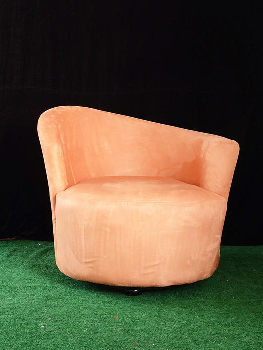 pair of salmon pink Art Deco style swivel armchairs by fingerlickingvintage